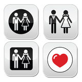 Wedding married couple white icon set on black Royalty Free Stock Images