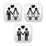 Wedding married hetero and gay couple buttons Royalty Free Stock Images