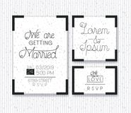 Wedding and married invitation set cards Stock Photography