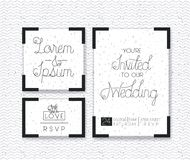 Wedding and married invitation set cards Stock Photos