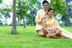 Wedding marry couples. In thai dress Royalty Free Stock Image