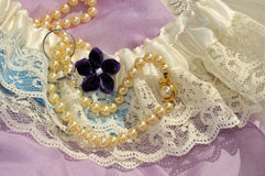 Wedding Memories. Keepsake with Pearls, Lace, and Rings Royalty Free Stock Image