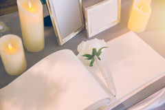 Wedding memory guest book empty space Stock Photo