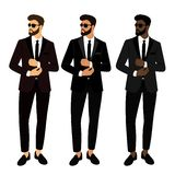 Wedding men`s suit and tuxedo. Collection. The groom. Gentleman. Businessman. Clothing Vector illustration vector illustration