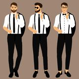 Wedding men`s suit and tuxedo. Collection. The groom. Gentleman. Businessman. Clothing Vector illustration royalty free illustration