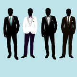 Wedding men`s suit and tuxedo. Collection. The groom. Vector illustration Stock Photos