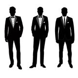 Wedding men`s suit. Wedding men`s suit and tuxedo. Collection. The groom. Vector illustration Stock Image