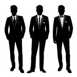 Wedding men`s suit and tuxedo. Collection. The groom. Vector illustration Stock Images