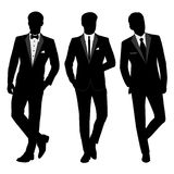 Wedding men`s suit and tuxedo. Collection. The groom. Vector illustration Stock Photography