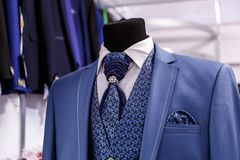 Wedding mens suits in wedding shop Stock Photography