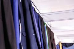 Wedding mens suits in wedding shop Stock Photos