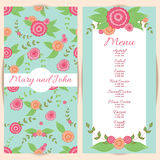 Wedding menu design with hand drawn flowers. Stock Photo