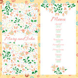Wedding menu design with hand drawn flowers Stock Images