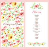 Wedding menu design with hand drawn flowers Royalty Free Stock Images