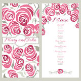 Wedding menu design with hand painted roses. Decorative cards with pink romantic flowers. Elegant design for restaurant menu. Royalty Free Stock Photography