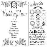 Wedding menu, font set and design elements set. Wedding menu, flowers, font set and design elements set Stock Images