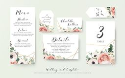 Wedding menu, information, label, table number and place card de. Sign with elegant lavender pink garden rose, anemone, wax flowers eucalyptus branches, leaves Stock Image