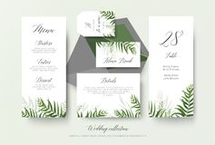 Wedding menu, label, place card, details, table number cards flo. Ral design with green tropical forest palm leaves, eucalyptus branches, greenery herbal stock illustration