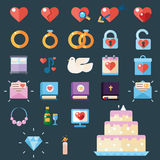 Wedding modern icons Royalty Free Stock Images