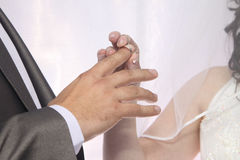 Wedding. The moment when the bride puts the wedding ring on the finger of her groom stock image