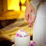 Wedding moment with cake Stock Photos