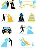 Wedding moments - 2. Icon set composed ofnine wedding moments Stock Photos