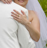 Wedding moments - bride inarms fiance Stock Photos