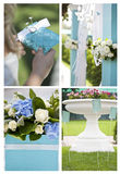 Wedding moments. Set of images associated with wedding reception: outdoor ceremony decoration, close-up of wedding table decoration with flowers, wedding rings Royalty Free Stock Image