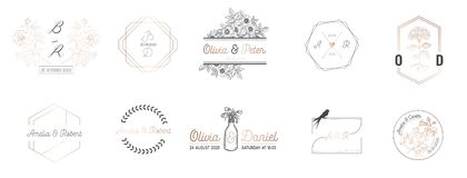 Wedding monogram collection, Modern Minimalistic and Floral templates for Invitation cards, Save the Date, Logo identity vector illustration