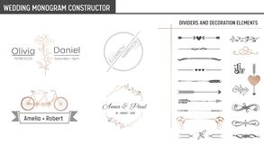 Wedding Monogram Constructor, Modern Minimalistic Collection of templates for Invitation cards, Save the Date, Logo vector illustration