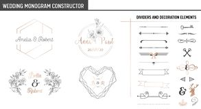 Wedding Monogram Constructor, Modern Minimalistic Collection of templates for Invitation cards, Save the Date, Logo stock illustration