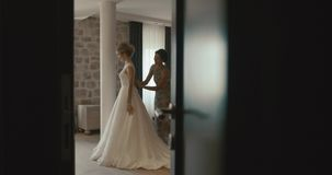 Bride in delicate silk robe · Wedding at Montenegro. Traditional European  ceremony. Morning before the reception. 4k. Mother d3a3b6279