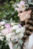Wedding morning of a bride. With peonies Stock Image