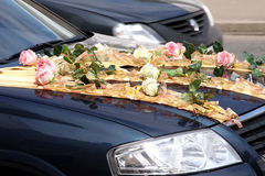 Wedding motor car. With decor Royalty Free Stock Image