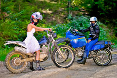 Wedding on the motorcycle Stock Photography