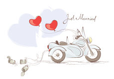 Wedding motorcycle with sidecar. Vector illustration, card -- wedding motorcycle with sidecar Royalty Free Stock Photography