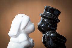 The wedding of Mrs White and Mr Black. Is a moment of love just before a kiss Stock Photo