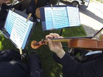Wedding music provided by a string quartet stock photo