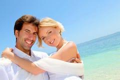 Wedding na praia paradisíaca imagem de stock