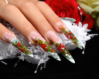 Wedding nails design. Royalty Free Stock Image