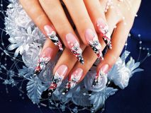 Wedding nails design. Royalty Free Stock Images