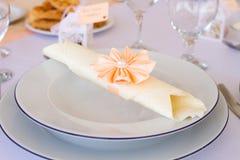Wedding napkin on plate Royalty Free Stock Photo