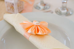 Wedding napkin on plate Royalty Free Stock Images