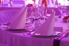 Wedding napkin on plate Royalty Free Stock Photos