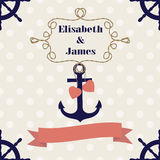 Wedding nautical invitation card with anchor Stock Images