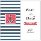 Wedding nautical invitation card with anchor. Save the date card Royalty Free Stock Image