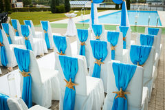 Wedding in a nautical style with the blue notes. Wedding decorations at a ceremony in marine style Stock Images