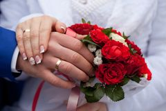 Wedding, newlyweds. bouquet of flowers. Nholidays of people`s lives are the most important events in their lives Stock Photo