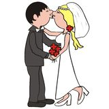 Wedding. Newlyweds can give the wedding kiss. Amusing picture Stock Photography