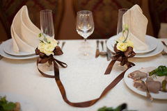 Wedding nicely decorated table serving glasses Stock Photography
